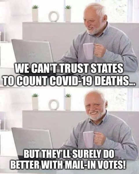 we cant trust states count covid deaths surely mail in votes