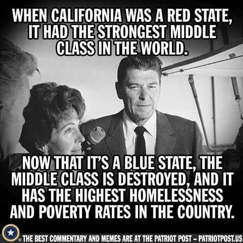 when california red state strongest middle class now highest homelessness poverty in country