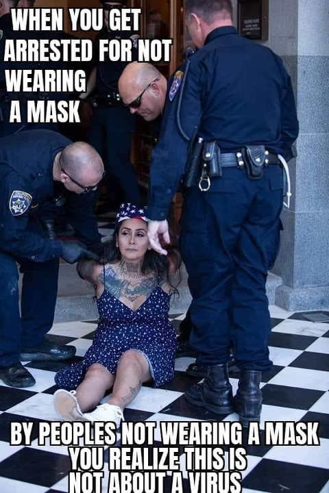 when you get arrested wearing mask by cops not wearing one realize not about virus