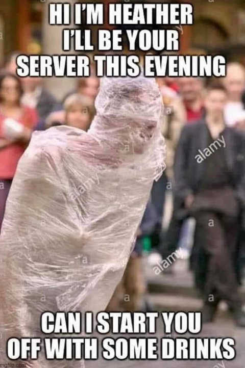 wrapped plastic hi your server start you with some drinks