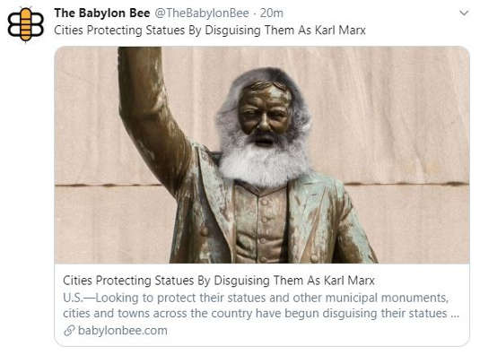 babylon bee cities protecting statues by disguising as karl marx