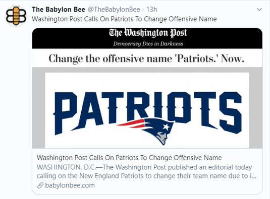 babylon bee washington post calls on patriots to rename offensive