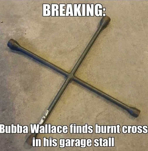 breaking bubba wallace finds burnt cross in garage stall