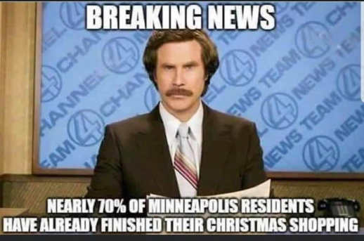 breaking news nearly 70 percent minneapolis residents finished christmas shopping