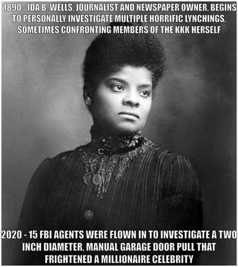 bubba wallace noose 15 fbi agents compared to ida wells 1890