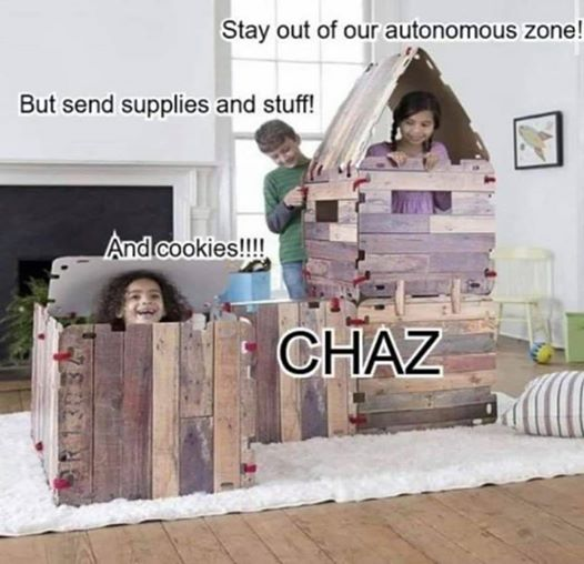 chaz chop stay out of autonomous zone send supplies and cookies to kids fort