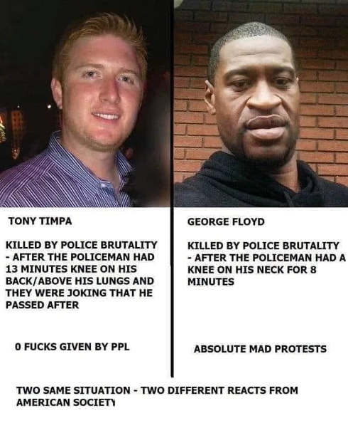 comparison tony timpa george floyd police brutality zero fucks given protests