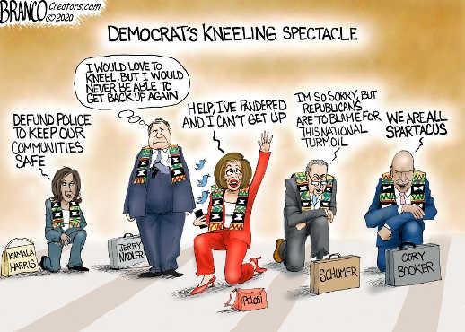 democrats kneeling spectacle schumer pelosi harris nadler spartacus