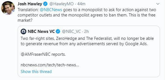 google ads bans zerohedge federalist from revenue nbc news reports