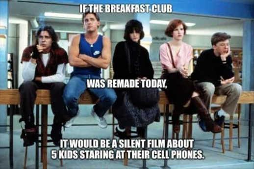 if breakfast club today silent film kids looking at phones
