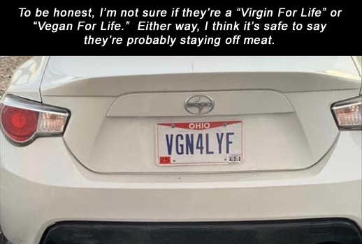 license plate virgin vegan life staying off meat