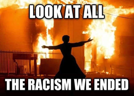 look at all the racism we ended fires burning sounds of music