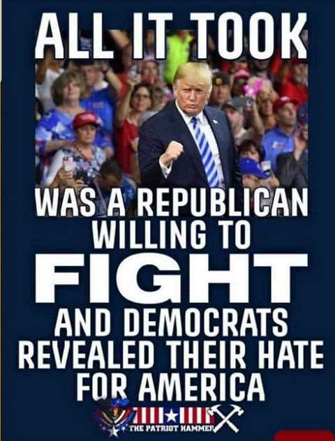 message all it took republican willing to fight reveal democrats hatred for america