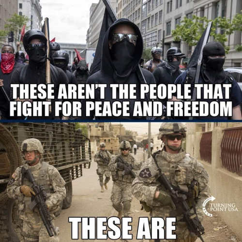 message soldiers fight for freedom antifa terrorists
