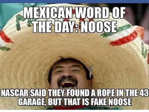 nascar said found rope bubba wallace garage fake noose mexican word of day