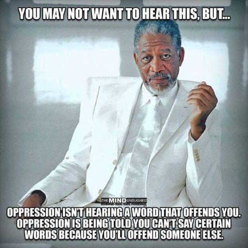 oppression isnt hearing word that offends you told you cant say certain words offend someone else
