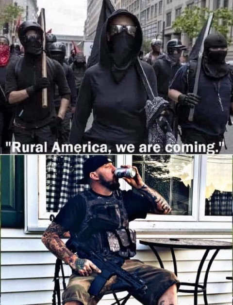 rural america antifa coming for you us drinking beer rifle