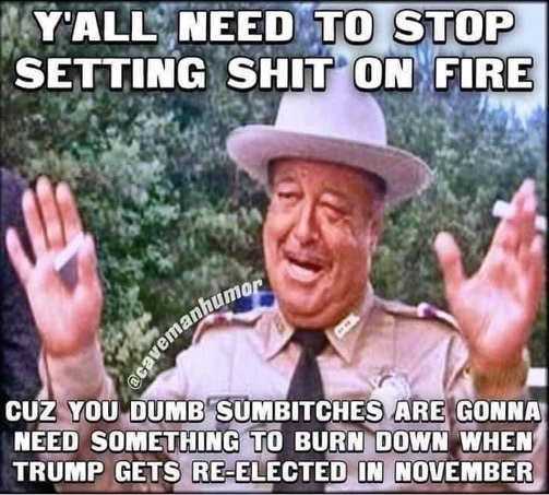 smokey yall need stop setting fire sumbitches need something burn trump wins reelection