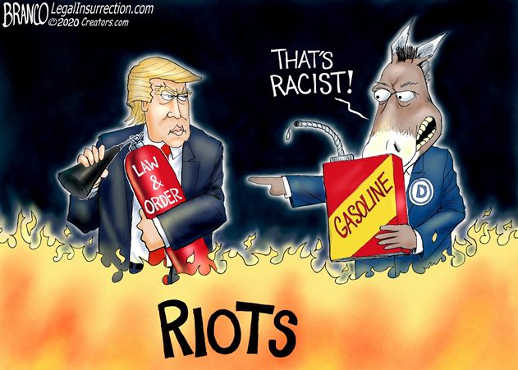 trump law and order democrats gasoline on fire thats racist