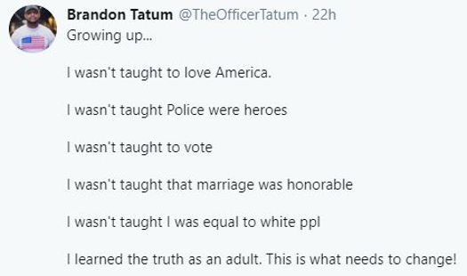 tweet brandon tatum growing up wasnt taught to love america vote marriage equal learned as adult