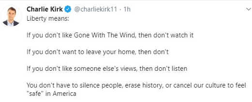 tweet charlie kirk gone with the wind home others views