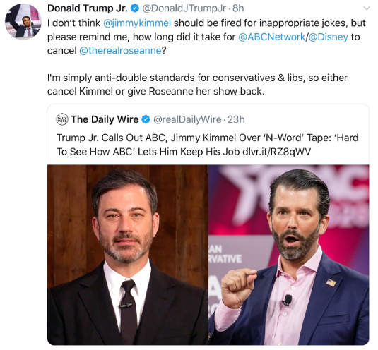 tweet donald trump jr jimmy kimmel apology roseanne comparison