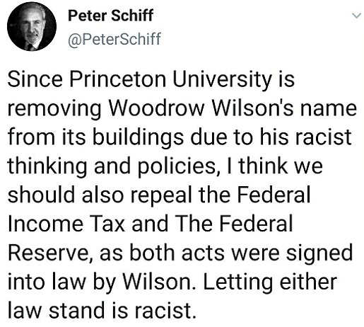 tweet princeton university removing woodrow wilson repeal tax reserve racist