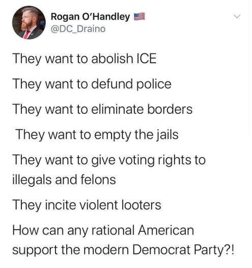 tweet roger o handley democrats want to abolish ice police borders jails illegals