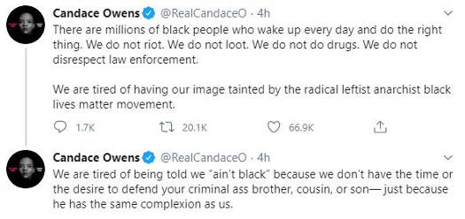 tweets candace owens millions black do right thing every day told aint black dont defend criminal with same complexion