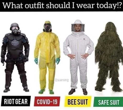 what outfit to wear today riot gear covid 19 bee suit safe suit