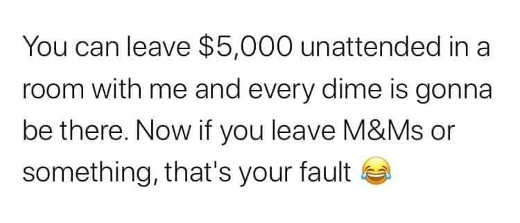 you can leave 5000 dollars unattended will get every time if m and ms your fault