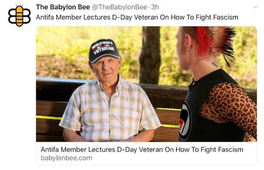 babylon bee antifa lectures dday vet how to fight fascism