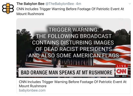 babylon bee cnn includes trigger warning before footage of trump speech mount rushmore