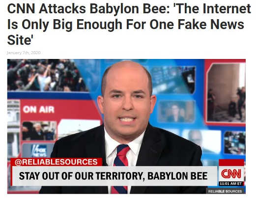 babylon bee cnn stay out of our fake news territory babylon bee