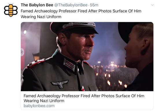 babylon bee famed archaelogy professor indiana jones photo nazi