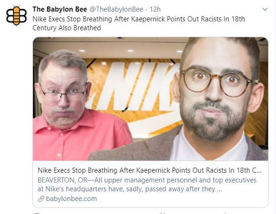 babylon bee nike execs stop breathing kaepernick points out racists breathed in 18th century