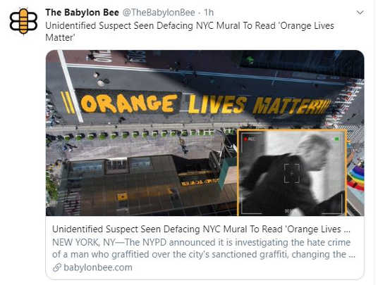 babylon bee unidentified suspect orange lives matter paint over
