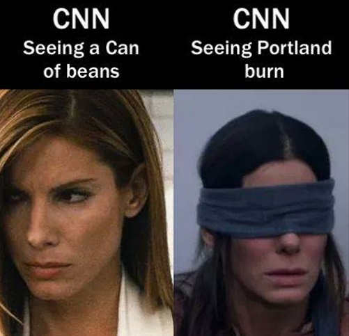 cnn seeing can of beans watching portland burn blind fold goya