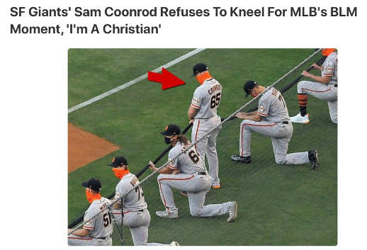 courage sf giants sam coonrod refuses to kneel to blm