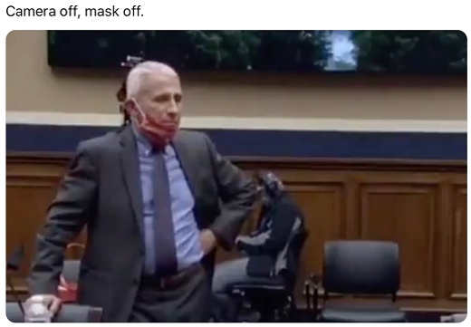 dr fauci camera off mask off