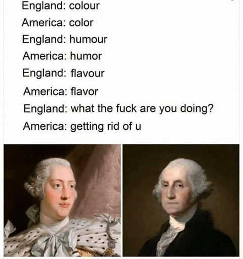 england america different spellings colour humor washington getting rid of u