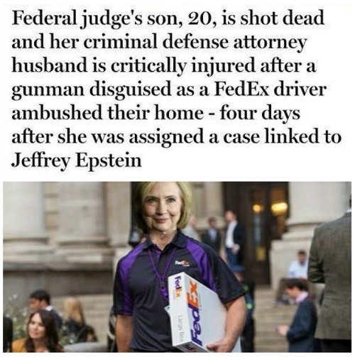 federal judge son shot dead fedex driver days after epstein case hillary clinton