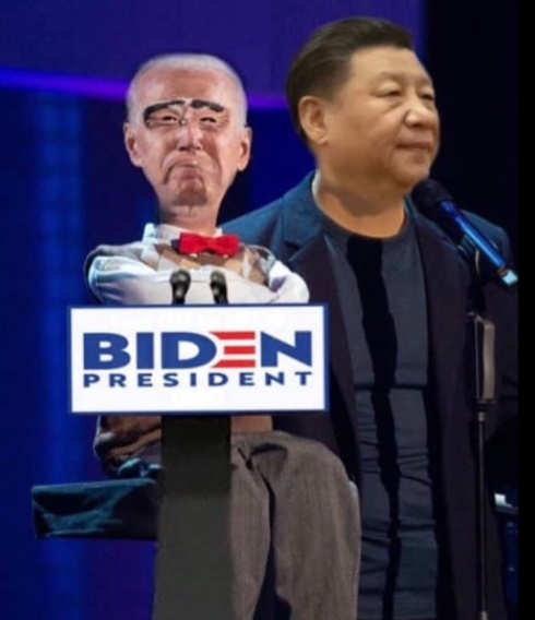 joe biden dummy hand puppet to china