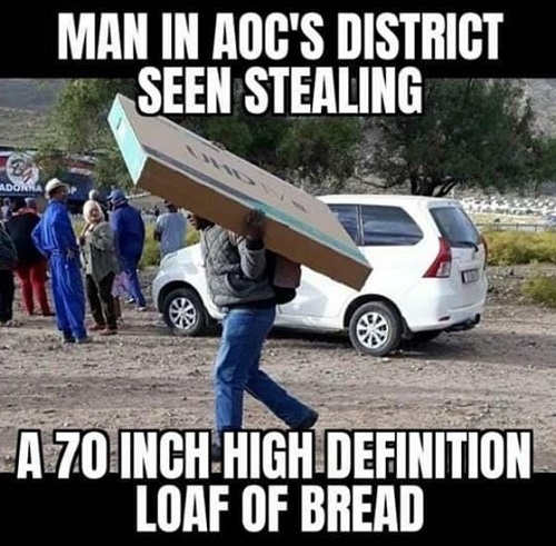man in aoc district seen stealing 70 inch high definition loaf of break looters