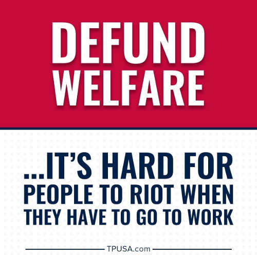 message defund welfare hard to riot when you have to go to work