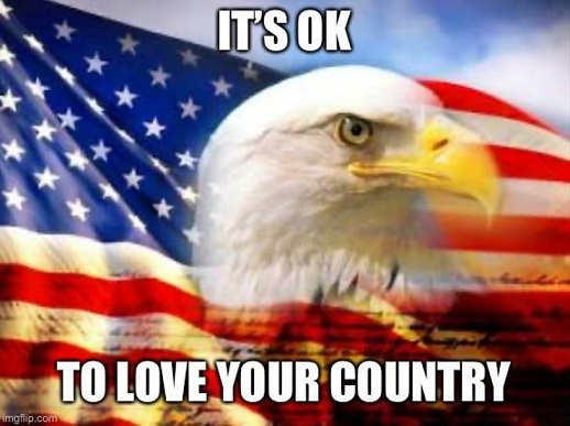 message its ok to love your country eagle flag