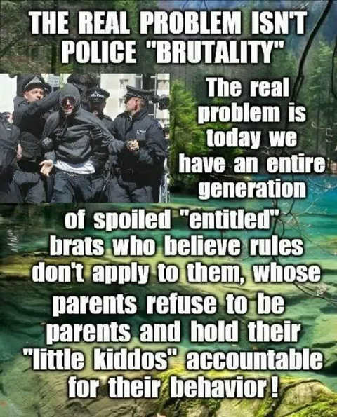 message real problem not police brutality spoiled entitled brats believe rules dont apply to them