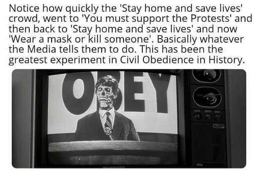 obey they live notice how quickly stay home became you must support protests wear mask