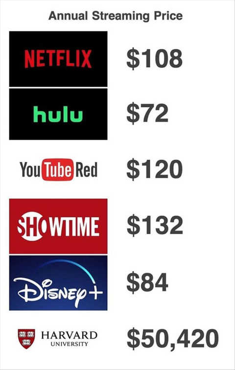 online streaming costs netflix hulu youtube disney harvard classes