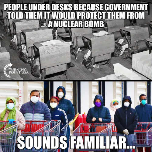 people under desk government told them protect from nuclear bomb sound familiar masks